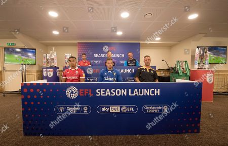 Front row left to right Jacob Brown of Barnsley, Kalvin Phillips of Leeds United, Tom Pope of Port Vale and back row left to right Matty Blair of Doncaster Rovers, Gary Rowett, manager of Stoke City and Kevin Nolan, manager of Notts County during a press conference to launch the new EFL 2018/19 season.