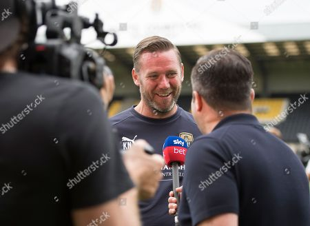 Kevin Nolan, manager of Notts County, talks to the media during the EFL 2018/19 season Launch press conference.