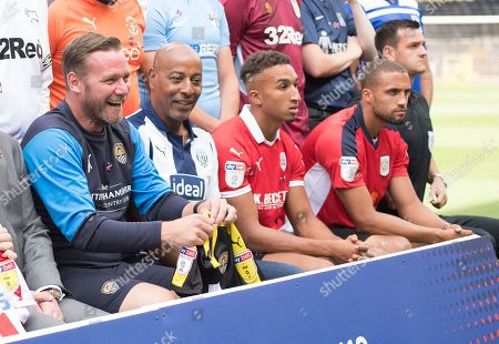 Kevin Nolan, manager of Notts County and Brendon Baston of West Bromwich Albion during the EFL 2018/19 season Launch press conference.