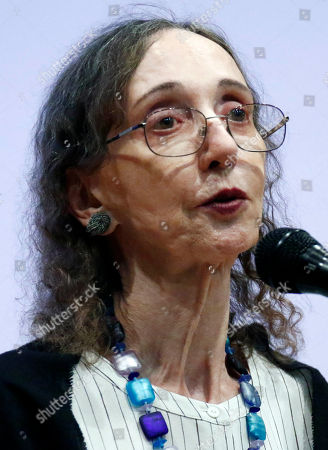 This is a photograph of American author Joyce Carol Oates, photographed at Millsaps College in Jackson, Miss. Oates, published her first book in 1962. And she has since published over 40 novels, as well as plays and novellas, short stories, poetry, and nonfiction