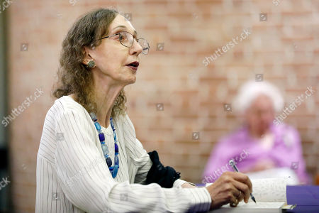 This is a photograph of American author Joyce Carol Oates, photographed at Millsaps College during a book signing in Jackson, Miss. Oates, published her first book in 1962. And she has since published over 40 novels, as well as plays and novellas, short stories, poetry, and nonfiction