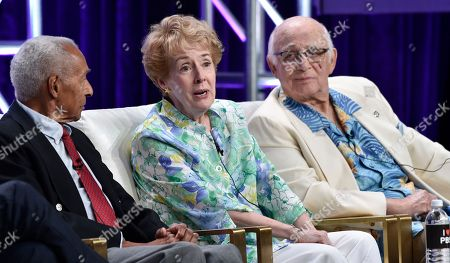 "Arthur Duncan, Georgia Engel, Gavin MacLeod. Actress Georgia Engel, center, answers a question alongside dancer Arthur Duncan, left, and actor Gavin MacLeod during a panel discussion on the PBS special ""Betty White: First Lady of Television"" at the 2018 Television Critics Association Summer Press Tour at the Beverly Hilton, in Beverly Hills, Calif"