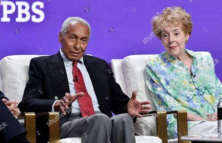 "Arthur Duncan, Georgia Engel. Dancer Arthur Duncan, left, and actress Georgia Engel take part in a panel discussion on the PBS special ""Betty White: First Lady of Television"" during the 2018 Television Critics Association Summer Press Tour at the Beverly Hilton, in Beverly Hills, Calif. Duncan's first television job in 1954 was on ""The Betty White Show"