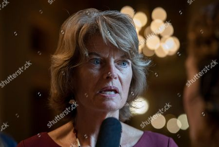 Sen. Lisa Murkowski, R-Alaska, speaks with reporters following a weekly GOP policy lunch on Capitol Hill in Washington, . Murkowski, along with Sen. Susan Collins, R-Maine, are the only two Republicans viewed as possible no votes on confirming Supreme Court nominee Judge Brett Kavanaugh, President Donald Trump's choice to replace retiring Justice Anthony Kennedy. Both say they haven't made a decision yet