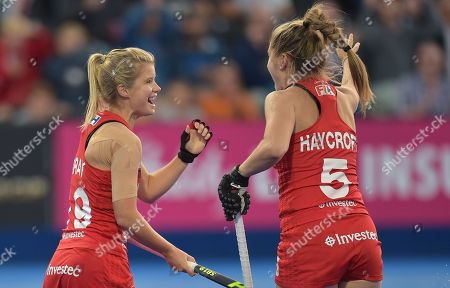Sophie Bray of England celebrates her goal with Sarah Haycroft of England, 1-0