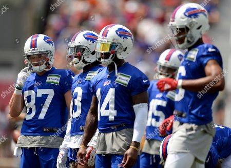 Austin Proehl, Ray-Ray McCloud, Jeremy Kerley, Malachi Dupre. Buffalo Bills wide receivers, from left, Austin Proehl, Ray-Ray McCloud, Jeremy Kerley and Malachi Dupre wait for a drill during practice at the NFL football team's training camp in Pittsford, N.Y
