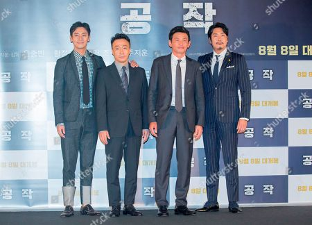 "Ju Ji-Hoon, Lee Sung-Min, Hwang Jung-min and Cho Jin-Woong, : Cast members (L-R) Ju Ji-Hoon, Lee Sung-Min, Hwang Jung-min and Cho Jin-Woong pose at a press conference for their new film 'The Spy Gone North' at a theatre in Seoul, South Korea. The spy film tells the story of a South Korean spy who goes undercover as a businessman in North Korea in the 1990s to infiltrate North's nuclear facilities using the codename ""Black Venus""."