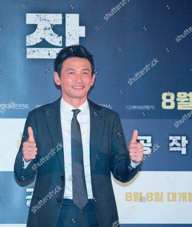 "Hwang Jung-min, : South Korean actor Hwang Jung-min attends a press conference for his new film 'The Spy Gone North' at a theatre in Seoul, South Korea. The spy film tells the story of a South Korean spy who goes undercover as a businessman in North Korea in the 1990s to infiltrate North's nuclear facilities using the codename ""Black Venus""."