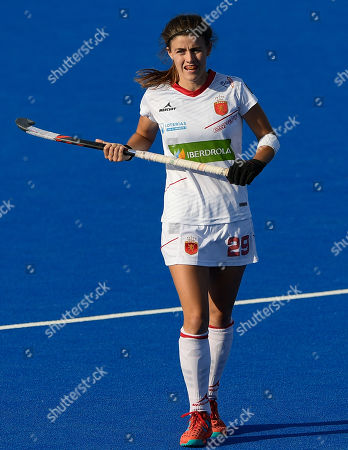 Lucia Jimenez of Spain during the Womens World Cup Quarter-Final match between Germany and Spain at Lee Valley Hockey and Tennis Centre on August 1, 2018 in London, England. (Photo by Paul Simpson)