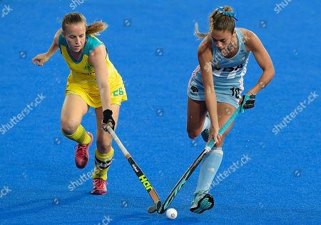 Editorial photo of Australia v Argentina, Vitality FIH Hockey Women's World Cup Quarter-final, International Hockey, Lee Valley Hockey Centre, London, UK - 01 Aug 2018