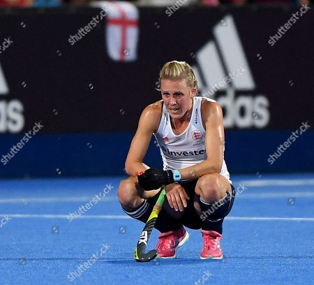 Alex Danson looking dejected as England lose to Netherlands