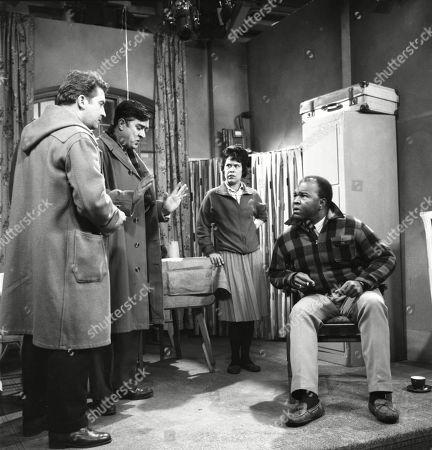 Peter Adamson (as Len Fairclough), Ivan Beavis (as Harry Hewitt), Barbara Assoon (as Mrs Alexander) and Thomas Baptiste (as Johnny Alexander)