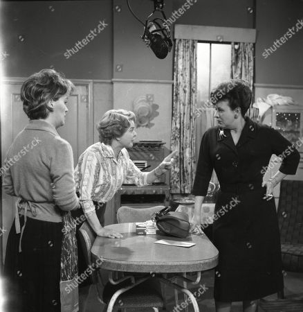 Stock Image of Christine Hargreaves (as Christine Appleby) Daphne Oxenford (as Esther Hayes) and Pat Phoenix (as Elsie Tanner)