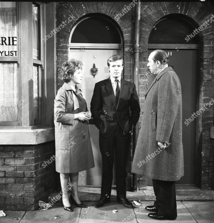 Anne Reid (as Valerie Barlow), William Roache (as Ken Barlow) and Campbell Singer (as Edwin Mason)