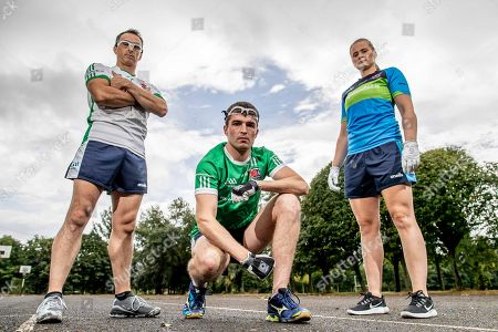 Pictured at today's launch is (L-R) Reigning Handball World Champion Paul Brady, Martin Mulkerrins, Team Ireland captain and Reigning Handball World Champion Aisling Reilly