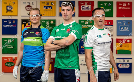 Pictured at today's launch is (L-R) Reigning Handball World Champion Aisling Reilly, Martin Mulkerrins, Team Ireland captain and Reigning Handball World Champion Paul Brady