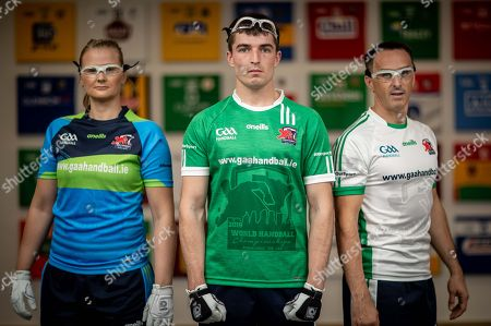 Stock Image of Pictured at today's launch is (L-R) Reigning Handball World Champion Aisling Reilly, Martin Mulkerrins, Team Ireland captain and Reigning Handball World Champion Paul Brady