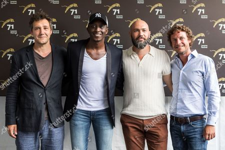 (L-R) Producer Marc Stanimirovic, French actor Ahmed Sylla, French director Vianney Lebasque, and producer Marc Etienne Schwartz pose during a photocall for the film 'Les Beaux Esprits' at the 71st Locarno International Film Festival, in Locarno, Switzerland, 01 August 2018. The Festival del film Locarno 2018 runs from 01 to 11 August.