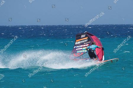 Stock Picture of Antoine Albeau of France in action during the qualifying round of the windsurf slalom trial at the World Windsurf and Kitesurf Championships held in Fuerteventura, Canary Islands, Spain, 01 August 2018.