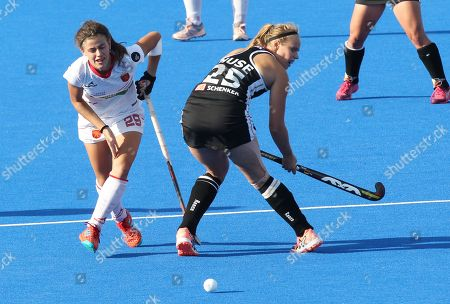 Germany's Viktoria Huse (R) Spain's Lucia Jimenez (L)  during the women's Field Hockey World Cup match between Germany and Spain at the Lee Valley Hockey Centre, Queen Elizabeth Olympic Park in London, Britain, 01 August 2018