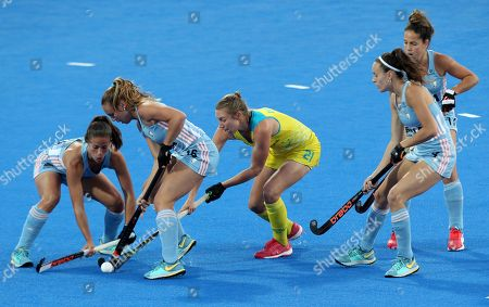 Australia's Renee Taylor (C)  in action during the Women's Field Hockey World Cup match between Argentina and Australia at the Lee Valley Hockey Centre, Queen Elizabeth Olympic Park in London, Britain, 01 August 2018.