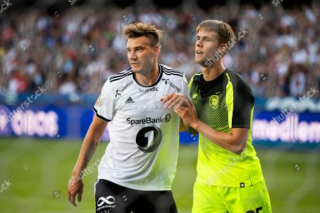Rosenborg´s Nicklas Bendtner (L) and Celtic´s Kristoffer Ajer during the Champions League second qualifying round second leg match between Rosenborg and Celtic in Lerkendal Stadium in Trondheim, Norway, 01 August 2018.
