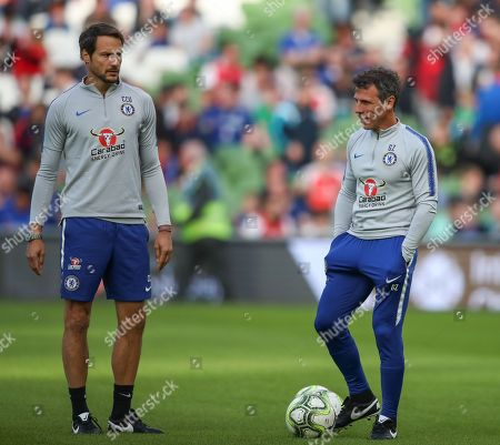 Chelsea Assistant Coach Gianfranco Zola right   with  Carlo Cudicini