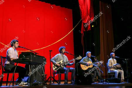Brazilian popular singer and composer Caetano Veloso (2-R), performs with his three sons Zeca, Tom and Moreno, during a concert at Coliseu dos Recreios in Lisbon, Portugal, 01 August 2018.