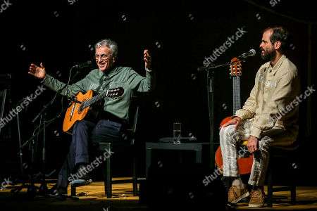 Brazilian popular singer and composer Caetano Veloso (L), performs with his three sons Zeca, Tom and Moreno, during a concert at Coliseu dos Recreios in Lisbon, Portugal, 01 August 2018.