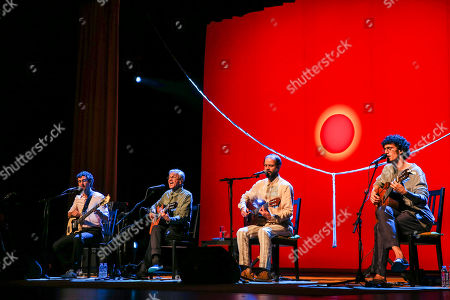 Brazilian popular singer and composer Caetano Veloso (2nd L), performs with his three sons Zeca, Tom and Moreno, during a concert at Coliseu dos Recreios in Lisbon, Portugal, 01 August 2018.
