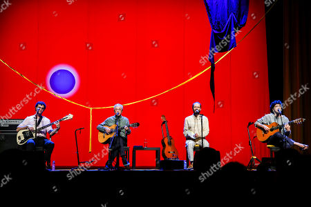 Brazilian popular singer and composer Caetano Veloso (2-L), performs with his three sons Zeca, Tom and Moreno, during a concert at Coliseu dos Recreios in Lisbon, Portugal, 01 August 2018.