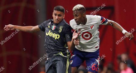Juventus midfielder Matheus Pereira (40) and MLS All-Star defender Michael Amir Murillo (62) vie for a kicked ball during the MLS All-Star soccer match, in Atlanta