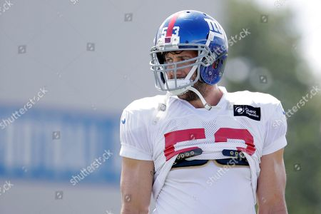 New York Giants linebacker Connor Barwin works out during NFL football training camp, in East Rutherford, N.J