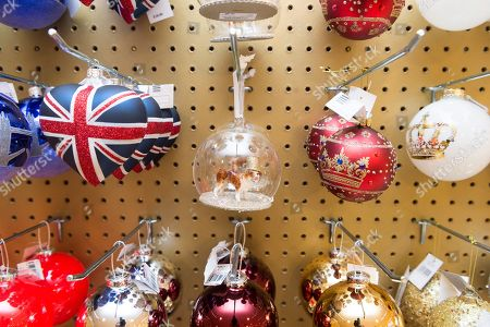 christmas decorations on display at the launch of the selfridges christmas store with a rock