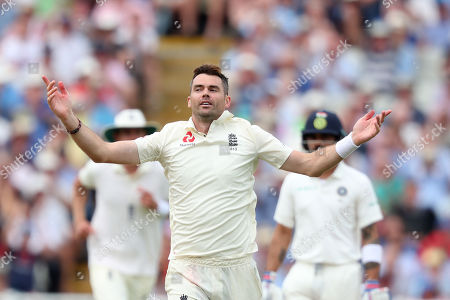 James Anderson of England celebrates after bowling out Ravichandran Ashwin of India