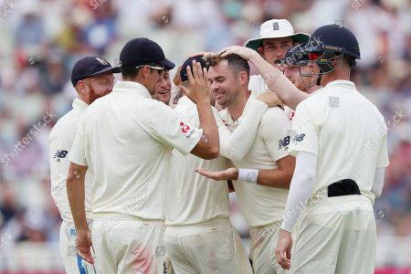 James Anderson of England celebrates taking the wicket of Mohammed Shami of India