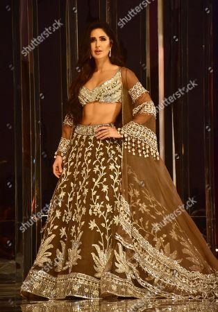 Indian film actress Katrina Kaif walk the ramp for designer Manish Malhotra's Haute Couture 2018