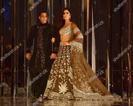 Indian film actor Salman Khan and Katrina Kaif walk the ramp for designer Manish Malhotra's Haute Couture 2018