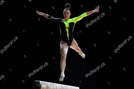Pauline Schaefer of Germany competes on the Beam during qualifying for the Women's Apparatus Finals of the Glasgow 2018 European Artistic Gymnastics Championships, Glasgow, Britain, 02 August 2018.