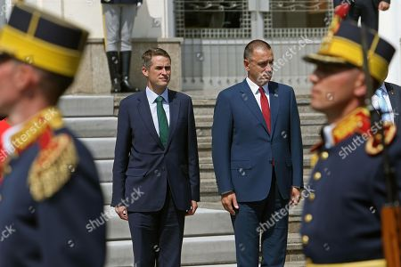 British Secretary of State for Defence Gavin Williamson (L) is welcomed with a honor guard by Romanian Defence Minister Mihai Fifor (R) outside the Ministry of Defence, in Bucharest, Romania, 02 August 2018. Williamson is on a one-day official visit to Romania.