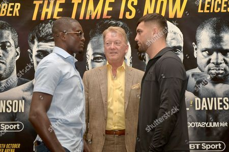 Stock Photo of Ohara Davies (L), Frank Warren and Jack Catterall during a Press Conference at the Landmark London Hotel on 2nd August 2018