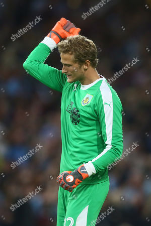 Anders Lindegaard of Burnley celebrates his sides third goal
