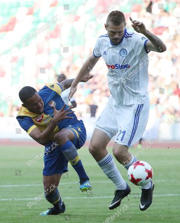 Stock Image of Filipp Ivanov (R) of FC Dinamo Minsk in action against Erick Davis (L) of FC DAC 1904 Dunajska Streda during the UEFA Europa League soccer match between FC Dinamo Minsk and FC DAC 1904 Dunajska Streda in Minsk, Belarus, 02 August 2018