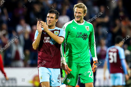 Stock Image of Jack Cork of Burnley and Anders Lindegaard of Burnley celebrate victory over Aberdeen