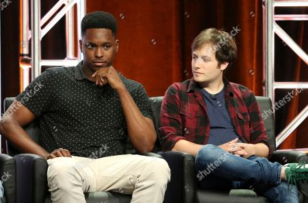 """Stock Photo of Kevin Barnett, Josh Rabinowitz. Co-creators/executive producers/writers Kevin Barnett, left, and Josh Rabinowitz participate in the """"Rel"""" panel during the Fox Television Critics Association Summer Press Tour at The Beverly Hilton hotel, in Beverly Hills, Calif"""