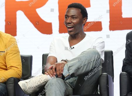 """Jerrod Carmichael participate in the """"Rel"""" panel during the Fox Television Critics Association Summer Press Tour at The Beverly Hilton hotel, in Beverly Hills, Calif"""