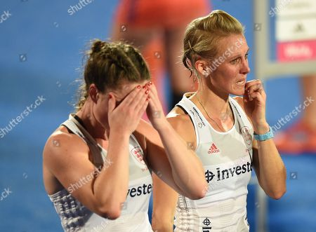 Alex Danson of England looks dejected with Grace Balsdon of England