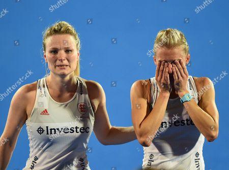 Hollie Pearne-Webb of England embraces Alex Danson of England