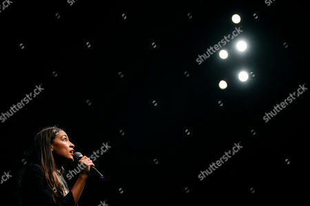 Stock Image of New York congressional candidate Alexandria Ocasio-Cortez addresses supporters at a fundraiser, in Los Angeles. The 28-year-old startled the party when she defeated 10-term U.S. Rep. Joe Crowley in a New York City Democratic primary