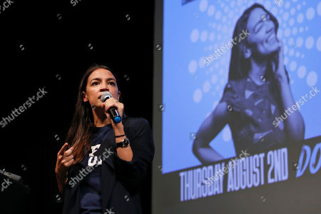 Stock Picture of New York congressional candidate Alexandria Ocasio-Cortez addresses supporters at a fundraiser, in Los Angeles. The 28-year-old startled the party when she defeated 10-term U.S. Rep. Joe Crowley in a New York City Democratic primary